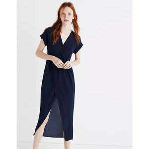 NEW Madewell Navy Silk Faux Wrap Front Maxi Dress